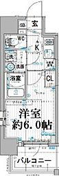 エスリード大阪ドームシティ 10階1Kの間取り