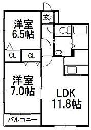 北海道札幌市西区八軒七条東5の賃貸マンションの間取り