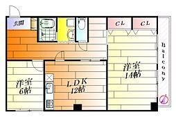 ウェルネス新芦屋[1階]の間取り