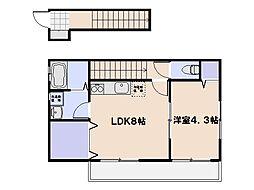 ボーライズ大東 B棟 2階1LDKの間取り