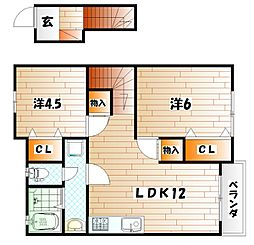 KMハイツVII A棟[2階]の間取り