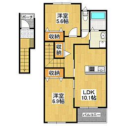 仮)つくばみらい市板橋新築アパート[2階]の間取り