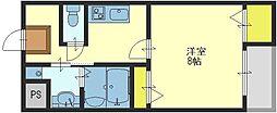 アンソレイユ菱屋西[6階]の間取り