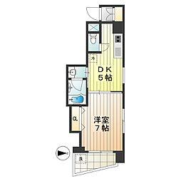 三ツ木富士見町マンション 3階1DKの間取り