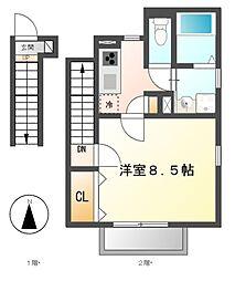 愛知県名古屋市中川区松年町3丁目の賃貸アパートの間取り