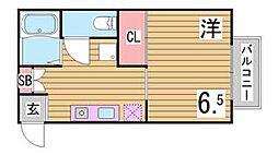 兵庫県神戸市中央区再度筋町の賃貸アパートの間取り