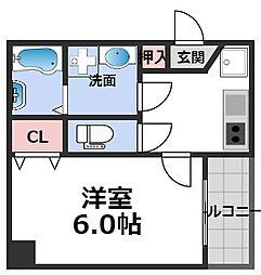 MESSAGE新今里 3階1Kの間取り