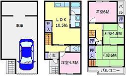 南海高野線 北野田駅 徒歩5分の賃貸一戸建て 1階4LDKの間取り