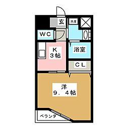 ルラシオン江戸橋 2階1Kの間取り