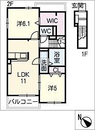 プラシード C棟[2階]の間取り