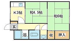 垣内アパート[22号室]の間取り
