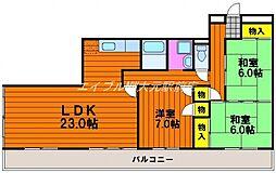 岡山県岡山市北区南方3丁目の賃貸マンションの間取り