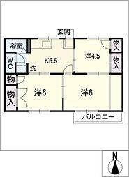 サンハイツ飯田[1階]の間取り