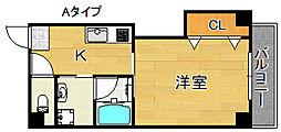 エテックUMIO 5階1Kの間取り