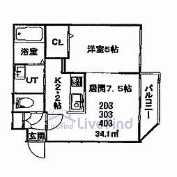 札幌市営東豊線 美園駅 徒歩8分の賃貸マンション 2階1DKの間取り