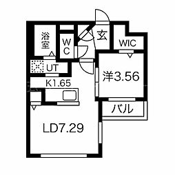 コアハート宮の沢 3階1LDKの間取り