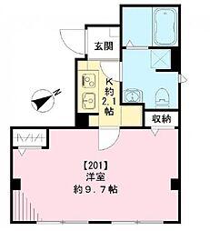 東京メトロ有楽町線 新富町駅 徒歩2分の賃貸マンション 2階1Kの間取り