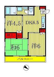 ハイネスマリモ[2階]の間取り
