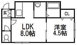 ヴェルデュール中央[3階]の間取り