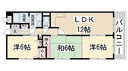 兵庫県伊丹市荻野3丁目の賃貸マンションの間取り