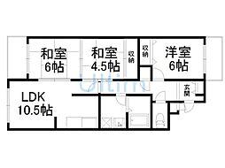 ヴェルデ三番館[1階]の間取り