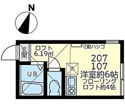 ユナイト七島スカイサンフラワー[107号室]の間取り