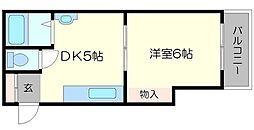 ニュー豊里マンション 3階1DKの間取り
