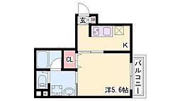 コウリュウマンション 6階1Kの間取り