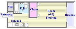 パルメゾン西脇[3階]の間取り