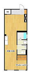 Vivo H 2階ワンルームの間取り