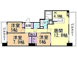 ブランズ札幌桑園駅前イースト 13階3LDKの間取り