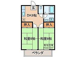 京都府城陽市寺田林ノ口の賃貸アパートの間取り