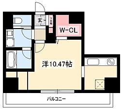 K Smart Kanayama 9階ワンルームの間取り
