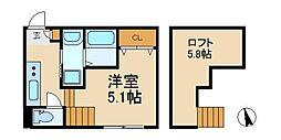 千葉県松戸市新松戸5丁目の賃貸アパートの間取り