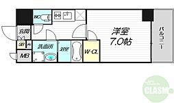 Osaka Metro中央線 朝潮橋駅 徒歩7分の賃貸マンション 13階1Kの間取り
