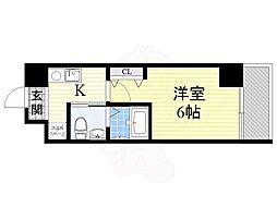 南海高野線 萩ノ茶屋駅 徒歩2分の賃貸マンション 9階1Kの間取り