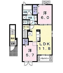 プランドール松富I[2階]の間取り