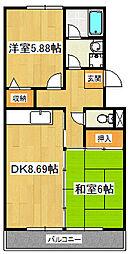 パティオ東菅野コミュニティ2番館[210号室]の間取り