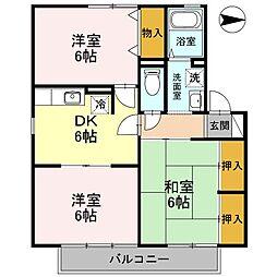 大阪府枚方市甲斐田新町の賃貸アパートの間取り