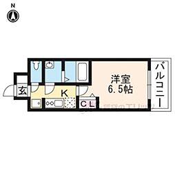 JR山陰本線 二条駅 徒歩15分の賃貸マンション 2階1Kの間取り