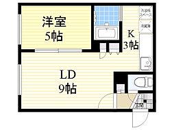 北海道札幌市北区新琴似6条1丁目の賃貸マンションの間取り