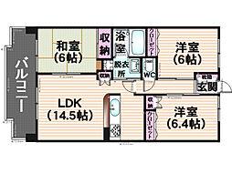 博多シティー袖乃浦[301号室]の間取り