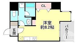 京阪本線 天満橋駅 徒歩5分の賃貸マンション 7階1Kの間取り