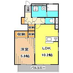 西武池袋線 清瀬駅 徒歩14分の賃貸アパート 1階1LDKの間取り
