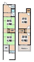 [テラスハウス] 大阪府大東市北条3丁目 の賃貸【/】の間取り