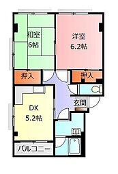 静岡県御殿場市中畑の賃貸アパートの間取り