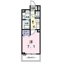 東急東横線 学芸大学駅 徒歩12分の賃貸マンション 2階1Kの間取り