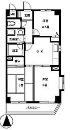 カトルズ中田II[2階]の間取り