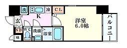 エスリード新大阪グランゲートノウス 3階1Kの間取り
