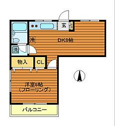 東京都三鷹市下連雀9丁目の賃貸マンションの間取り